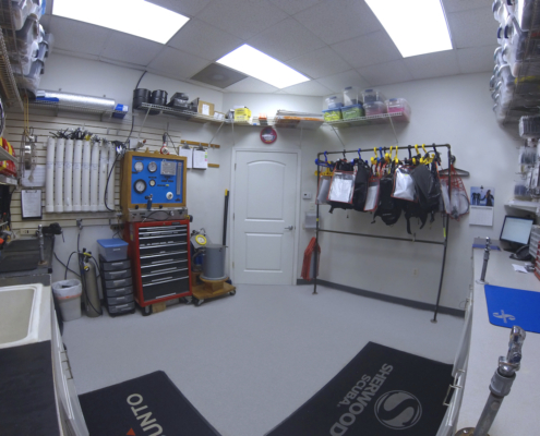scuba equipment service room